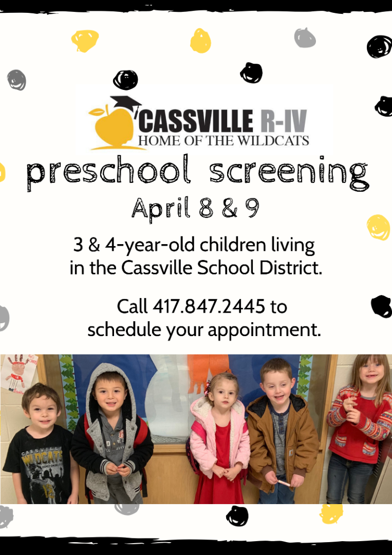 Preschool Screening is April 8 and 9. Call the primary office at 847-2445 to schedule an appointment.