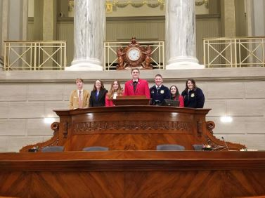 Students in the Senate Chamber